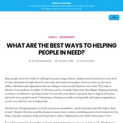 What Are the Best Ways to Helping People in Need?