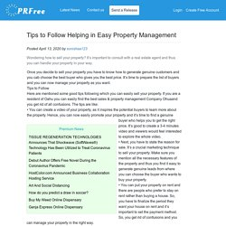 Tips to Follow Helping in Easy Property Management