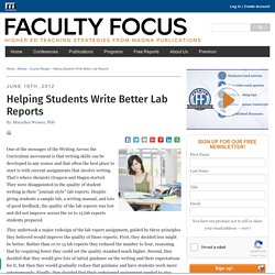 Helping Students Write Better Lab Reports