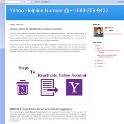 Yahoo Helpline Number @+1-888-259-9422: Simple Steps to Reactivate a Yahoo account