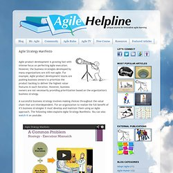 Agile Helpline!: Agile Strategy Manifesto
