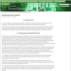 Hématomes intra crâniens - Campus de Neurochirurgie