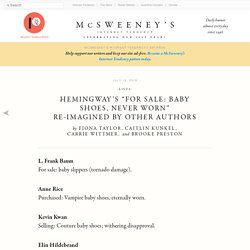 """Hemingway's """"For Sale: Baby Shoes, Never Worn"""" Re-Imagined By Other Authors"""