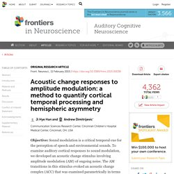 Acoustic change responses to amplitude modulation: a method to quantify cortical temporal processing and hemispheric asymmetry