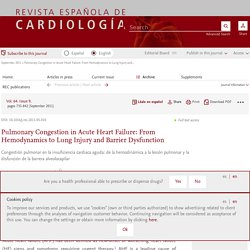 Pulmonary Congestion in Acute Heart Failure: From Hemodynamics to Lung Injury and Barrier Dysfunction