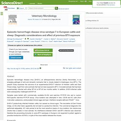 Veterinary Microbiology Available online 19 April 2012 Epizootic hemorrhagic disease virus serotype 7 in European cattle and she