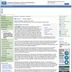 CDC EID – JANV 2012 - Crimean-Congo Hemorrhagic Fever Virus in Ticks from Imported Livestock, Egypt