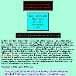 THE HENAN (HONAN) FAMINE OF 1943-44 IN CHINA