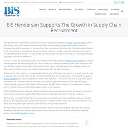 BiS Henderson Supports The Growth in Supply Chain Recruitment