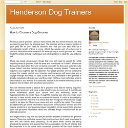 Henderson Dog Trainers: How to Choose a Dog Groomer