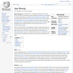 AMY HENNIG - Game Writter and Designer