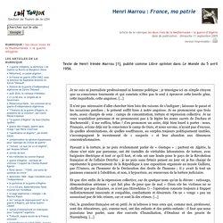 Henri Marrou : France, ma patrie