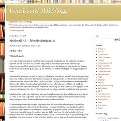 Henriksons Aktieblogg: MeMyself AB – Årsredovisning 2017