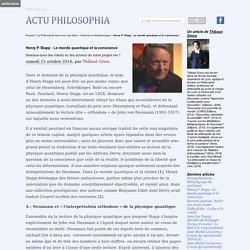 Henry P. Stapp : Le monde quantique et la conscience