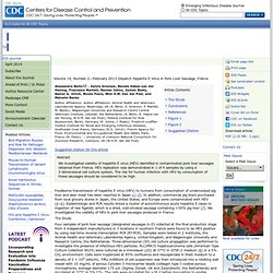 CDC EID – DEC 2012 – Au sommaire:Hepatitis E Virus in Pork Liver Sausage, France
