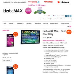 Buy Online HerbaMAX Men - Take Once Daily Pack Supplement Capsules Canada