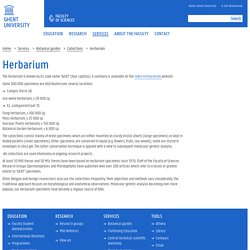 Herbarium — Faculty of Sciences — Ghent University