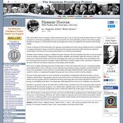 """Herbert Hoover: Magazine Article: """"Better Homes."""""""