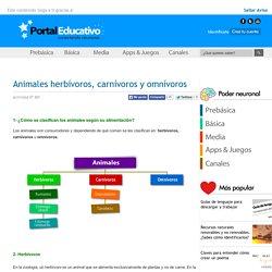 Animales herbívoros, carnívoros y omnívoros