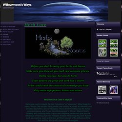 Herbs and Roots - Willowmoon's Ways