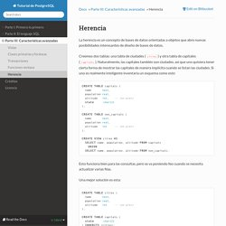 Herencia — Tutorial de PostgreSQL 8.4