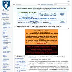 The Heretical Art: Comprehensive Summoner Guide - BG FFXI Wiki