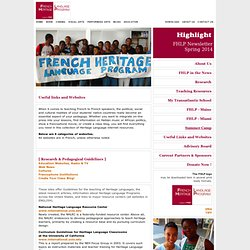 FACE | French Heritage Language Program | Teaching Resources