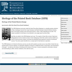 Heritage of the Printed Book Database (HPB)