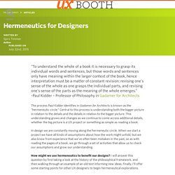 Hermeneutics for Designers