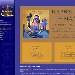 Hermetic Kabbalah: Don Karr's Kabbalah of Maat