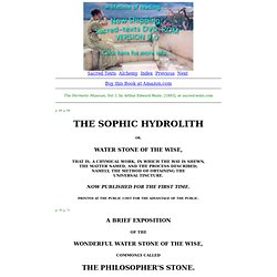 The Hermetic Museum, Vol. I: The Sophic Hydrolith