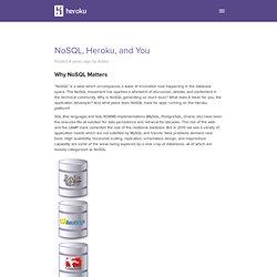 NoSQL, Heroku, and You