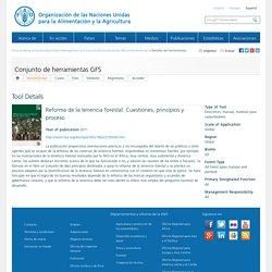 SFMDetalles de herramientas:Reforma de la tenencia forestal. Cuestiones, principios y proceso