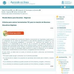 Criterios para valorar herramientas TIC para la creación de Recursos Educativos Digitales: Interacción