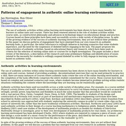 AJET 19(1) Herrington, Oliver and Reeves (2003) - engagement in authentic online learning environments