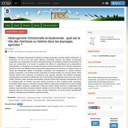 Hétérogénéité fonctionnelle et biodiversité : quel est le rôle des interfaces ou lisières dans les paysages agricoles ?