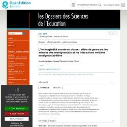 L'hétérogénéité sexuée en classe: effets de genre sur les attentes des enseignant(e)s et les interactions verbales enseignant(e)-élève