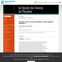 Enseigner l'oral en classes hétérogènes: quelle ingénierie didactique?