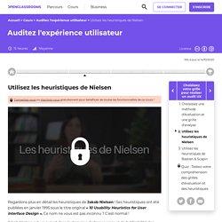 Utilisez les heuristiques de Nielsen - Auditez l'expérience utilisateur