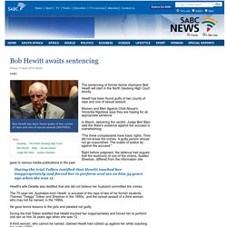 Bob Hewitt awaits sentencing :Friday 17 April 2015