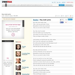 Hey Jude Lyrics - Beatles