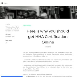 HHA Certification online