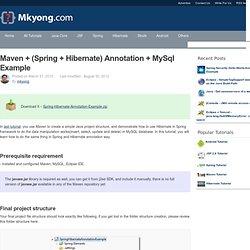 Maven + (Spring + Hibernate) Annotation + MySql Example