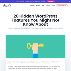 20 Hidden WordPress Features You Might Not Know About