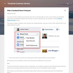 Hide a Facebook News Feed post