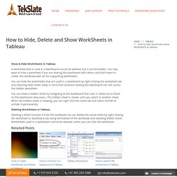How to Hide, Delete and Show WorkSheets in Tableau