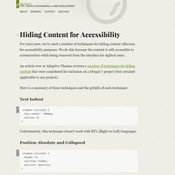 Hiding Content for Accessibility - Snook.ca