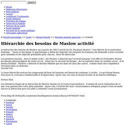 Hiérarchie des besoins de Maslow activité