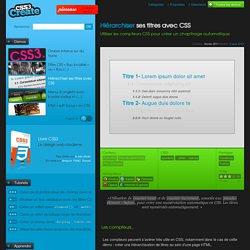 Hiérarchiser ses titres avec CSS – Utiliser les compteurs CSS pour créer un chapitrage automatique