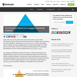 la pyramide de Maslow appliquée aux stratégies sociales